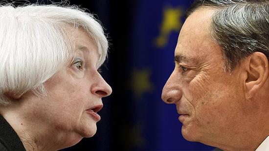 دراجي ويلين يحسمان مصير اليورو دولار